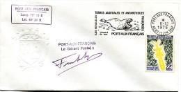 Lettre TAAF Avec Flamme Léopard De Mer - Signée Du Gérant Postal - 6 Décembre 1975 - R 1674 - Storia Postale