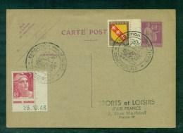 40c Paix + Complément + Gandon à 3Fr Oblitéré Expo Philatélique 1947 Courbevoie, Repiqué Air -France - Postales  Transplantadas (antes 1995)