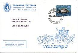 GROENLAND. N°150 De 1985 Sur Enveloppe Commémorative. Poisson/Chien De Traîneau. - Hunde