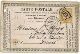 FRANCIA - France - 1875 - 15 - Carte Postale - Post Card - Postal Stationary - Viaggiata Da Le Havre Per Paris, France - Storia Postale
