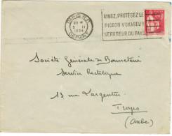 FRANCIA - France - 1934 - 50c - Flamme AIMEZ, PROTEGEZ LE PIGEON VOYAGEUR SERVITEUR DU PAYS - Viaggiata Da Paris Per ... - Storia Postale