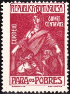 PORTUGAL (IMPOSTO POSTAL E TELEGRÁFICO) - 1915-1925.   Para Os Pobres.  Pap. Liso. 15 C. CARMIM (*)MNG   Afinsa Nº 10 - Télégraphes