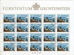 EUROPA CEPT LIECHTENSTEIN 1979 - N° 665 Se Tenant + FEUILLE  - OBLITERE RARE COTE 30E - 1979