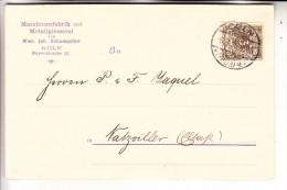 5000 KÖLN, POSTGESCHICHTE, 1896, Postkarte Cöln 4, Maschinenfabrik Schumacher Bayenstrasse In Das Elsass - Koeln