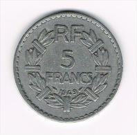 ¨FRANKRIJK 5 FRANCS 1949 B CLOSED  9 - France