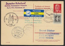 """P 65 A, Komplette Doppelkarte Mit Zusatzfrankatur """"Messeluftpost"""" Nach Kopenhagen, 1959 - [6] Democratic Republic"""