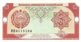 Uzbekistan 3 Sum 1994 Pick 74 UNC - Uzbekistán