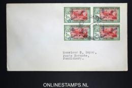 Inde  Lettre 1946 Pondichery  Poste Restante  Yv 161 En 4 - Block - Indien (1892-1954)