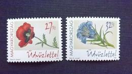Ungarn 4734/5 **/mnh, Mohnblume (Papaver Rhoeas), Blauer Enzian (Gentiana Acaulis) - Ungheria