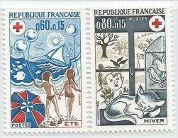 France 1974 1828 - 1829 ** Croix-Rouge - Saisons - Été Hiver - Jeux Enfants - Chat - Red Cross