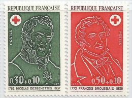 France 1972 1735 - 1736 ** Croix-Rouge - Desgenettes - Broussais - Médecins - Red Cross