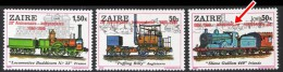 ZAIRE 1980 TRAINS O/PRINT (complete As Issued) MNH On 50K O/PRINT INVERTED @@ SCARCE @@ (DEL01) - Trains