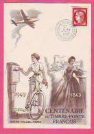 CARTE CENTENAIRE DU TIMBRE POSTE FRANCAIS TIMBRE CERES  N° 830 YVERT OBLITERATION DU 1° JUIN 1949 - Marcophilie (Lettres)
