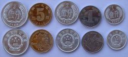 CINA CHINA SERIE 5 MONETE 1-2-5 FEN , 1-5 JIAO DA ROTOLINO FDC UNC - Cina