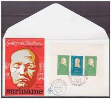Surinam / Suriname 1970 FDC 80 Ludwig Von Beethoven Composer S/S Logo Lion - Surinam
