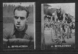 """03153 """"CICLISMO - A. BEVILACQUA - COPPIA DI FIGURINE NANNINA, 1952"""" FIGURINE ORIGINALI CARTONATE - Ciclismo"""