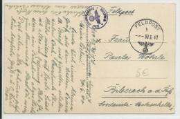 MOSELLE - 1940 - CARTE De MULHOUSE Avec CACHET FELDPOST 27627 - Alsace Lorraine