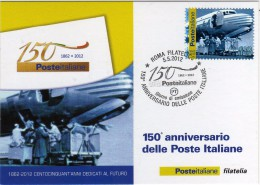 Italia 2012 Cartolina FDC Annullo Roma 150° Anniversario Delle Poste Italiane Posta Aerea Aeroporto Di Ciampino - 1946-.. République