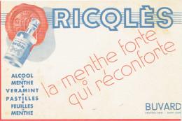 BUVARD RICQLES MENTHE FORTE ALCOOL VERAMINT PASTILLE - Buvards, Protège-cahiers Illustrés