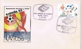 12058. Carta OVIEDO 1982. Mundial Futobol 1982, Encuentro Argelia-Austria - 1931-Hoy: 2ª República - ... Juan Carlos I