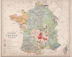 FRANCE - CARTE GEOLOGIQUE DE LA FRANCE - 1877 - Cartes Géographiques