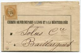 FRANCE AVIS DES CHEMINS DE FER DE PARIS A LYON ET A LA MEDITERRANEE AFFRANCHI AVEC LE N°28A OBLITERATION OR (SIGNE) - 1849-1876: Période Classique