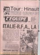 L´équipe 10 Et 11  Juillet 1982 Football Mondial - Italie RFA - Hinault - Kranten