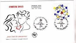 FDC 2015 - Coeur 2015 - JC De Castelbajac (gravé) - 1er Jour Le 23.01.2015 à Paris   (timbre Feuille 0,68€) - FDC