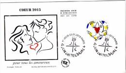 FDC 2015 - Coeur 2015 - JC De Castelbajac (soie) - 1er Jour Le 23.01.2015 à Paris   (timbre Bloc 0,68€) - FDC
