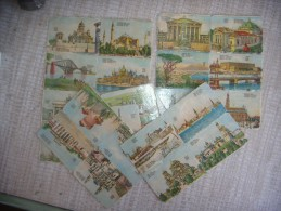 27 Mini Card. City. Lithographic. Old. Something Interesting. - Cartes Postales
