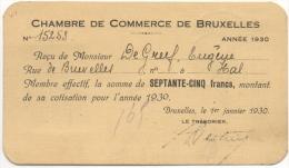 Chambre De Commerce De Bruxelles. Membre Effectif. Carte-Reçu 1930. Timbres Au Dos. - Bélgica