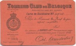 Touring Club De Belgique. Carte De Sociétaire 1932. - Bélgica