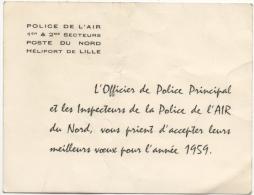 Carte De Voeux. Héliport De Lille. Police De L'Air Du Nord. 1959. - Aviation Commerciale