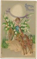 Illustrateur. Ange. Attelage De Lapins. Oeuf & Muguets. Joyeuses Pâques - Pâques