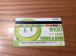 """Ticket de transport (Bus, Tramway) stas """"1H30 VENDU A BORD"""" Saint-Etienne (42)"""