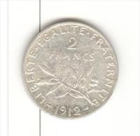 2 Francs Semeuse France 1912 Argent / silver