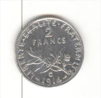 2 Francs Semeuse France 1914 C Argent / silver
