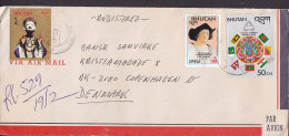 Bhutan By Airmail Par Avion Registered Einschreiben THIMPHU 1990 Cover Brief To Denmark Columbus Kolumbus Colon Flag - Bhután