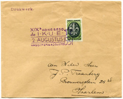 PAYS-BAS THEME ESPERANTO LETTRE AVEC OBLITERATION XIXa KONGRESO DE I. K. U. E. 2 AUGUSTUS 1937 - Esperanto