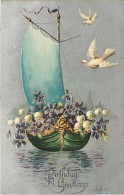 237057-Birthday Greetings, Sailboat Wth Pansies & Lily Of The Valleys, White Doves, Embossed Litho - Verjaardag