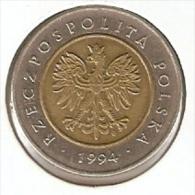 MONEDA DE POLONIA DE 5 ZLOTYCH DEL AÑO 1994  (COIN) BIMETAL - Polonia