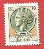 ITALIA REPUBBLICA USATO - 1977 - Siracusana - Valori Complementari - £ 170 - S. 1396 - 6. 1946-.. Republic