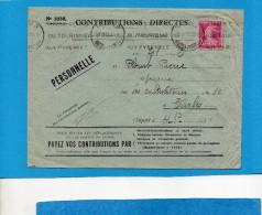 "MARCOPHILIE-   -lettre""  PERSONNELLE""contributions Directes N°2337 Cad 1931 Affranchie 20c SemeuseType III - Marcophilie (Lettres)"