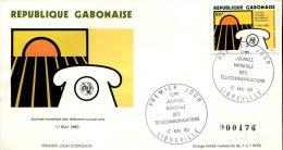 FDC 12ème Journée Mondiale Des Télécommunications - Libreville 17 Mai 1980 - Tirage N°176/1000 - Gabon (1960-...)