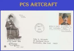 #3183a ADDR PCS ARTCRAFT FDC   1910 Charlie Chaplin - First Day Covers (FDCs)