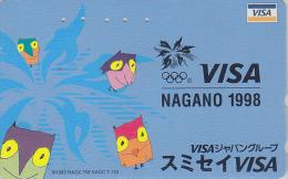 Télécarte Japon / 110-016 - HIBOU Jeux Olympiques NAGANO / VISA - OWL Bird OLYMPIC GAMES Japan Phonecard - EULE - Jeux Olympiques
