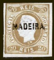 !! Madeira 1868 AF#01ø D.Luís Curved Label Imperf 20 Réis CV €350,00 (x9516) - Madeira