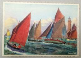 3 - Barques De Pêche En Mer Sous Voiles - Dessin De Charles Viaud - Bretagne