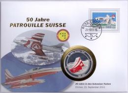 Switzerland 1988 Mi. 1369 On Numisletter 21-Sep-2011 Emmen Silvered Coin, 50 Year Swiss Air Force Team Patrouille Suisse - Airplanes
