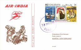 Dubai 1969 Mi. 360 On Cover 30-Oct-1969 First Flight Dubai-Geneva By Air India, Petrol Derrick, Sheikh Rashid Ben Said - Dubai